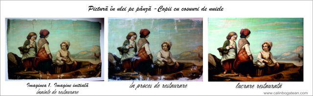 Copii cu cosuri pictură în ulei pe pânză restaurare tablou restaurare